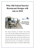 Why Old School Interior Restaurant Designs will rule in 2018