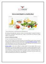 How to Gain Weight in a Healthy Way!