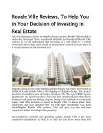 Royale Ville Reviews, To Help You in Your Decision of Investing in Real Estate