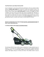 Electronic Lawn Mower Reviews