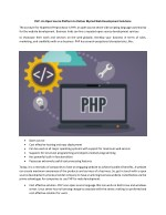 PHP- An Open Source Platform to Deliver Myriad Web Development Solutions