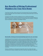 Key Benefits of Hiring Professional Plumbers for Your New Home