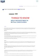 Things To Know About NRI Investment In Mutual Funds In India