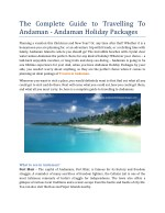 The Complete Guide To Travelling To Andamans - Andaman Holiday Packages