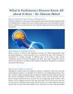 What Is Parkinson's Disease? Know All About It Here - Dr. Shivam Mittal