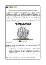 Importance of Choosing the right PMP certification course online
