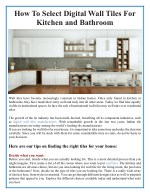 How To Select Digital Wall Tiles For Kitchen and Bathroom