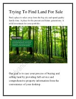 Trying To Find Land For Sale