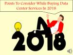 Points to consider while buying data center services In 2018