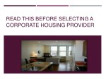 Read This Before Selecting A Corporate Housing Provider