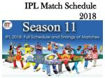 IPL 2018 Time Table