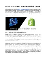 Convert PSD Files To Shopify Theme Template