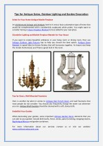 Tips for Antique Gates, Outdoor Lighting and Garden Decoration