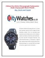 Citizen Eco-Drive Chronograph Tachymeter Scale CA4125-56E Men's Watch:Big, Dark and Useful
