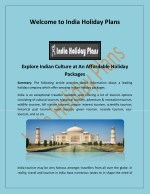 Visit India Tours, Tour Operators in India- indiaholidayplans