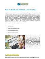 Role of Health and Nutrition Advisor in USA