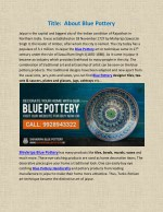 Leading Manufacturer and Supplier of Jaipur Blue Pottery