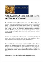 Child Actor LA Film School - How to Choose a Winner?