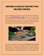 Choosing a Healthy and Diet Food Delivery Service