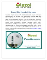Paras Bliss Hospital Gurgaon, Multi Specialty Hospital in Gurgaon