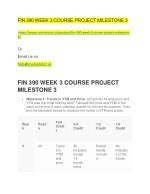 FIN 390 WEEK 3 COURSE PROJECT MILESTONE 3