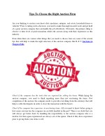 Tips To Choose the Right Auction Firm