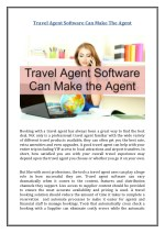 Travel Agent Software Can Make The Agent
