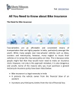 All You Need to Know about Bike Insurance