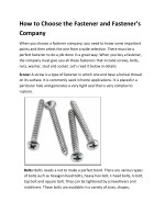 How to Choose the Fastener and Fastener's Company
