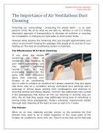 Importance of Air Ventilation Duct Cleaning