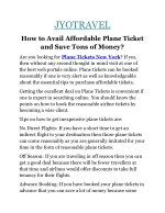 How to Avail Affordable Plane Ticket and Save Tons of Money?