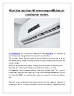 Blue star launches 40 new energy efficient air conditioner models