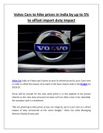 Volvo Cars to hike prices in India by up to 5% to offset import duty impact
