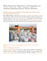Manufacturer Exporter and Supplier of Indian Marbles Royal White Marmo