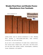 Wooden Panel Doors and Wooden Manufacturers from Tamilnadu