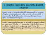 5 Valuable Reasons to Learn the English Language