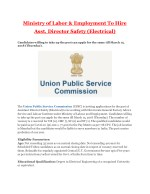 Ministry of Labor & Employment To Hire Asst. Director Safety (Electrical)