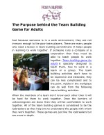 The Purpose behind the Team Building Game for Adults