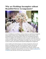 Why are Weddings Incomplete without Beautiful Flower Arrangements?