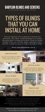 Types of Blinds That You Can Install At Home