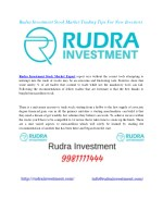 Join SEBI Registered Rudra Investment Company And Get Best Equity Services