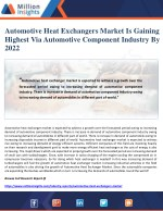 Automotive Heat Exchangers Market Is Gaining Highest Via Automotive Component Industry By 2022