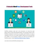5 Valuable WordPress Development Tools