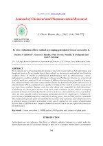 In vitro evaluation of free radical scavenging potential of Cassia auriculata L.
