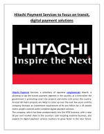 Hitachi Payment Services to Focus on Transit, Digital Payment Solutions