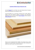 Buy Modern Different Types of Plywood in India