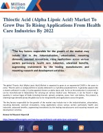 Thioctic Acid (Alpha Lipoic Acid) Market To Grow Due To Rising Applications From Health Care Industries By 2022