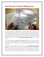 Best Ways for Contract Management