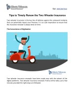 Tips to Timely Renew the Two Wheeler Insurance