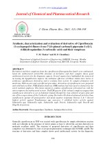 Synthesis, characterization and evaluation of derivative of Ciprofloxacin (1-cyclopropyl-6-fluoro-4-oxo-7-[4-(phenyl car